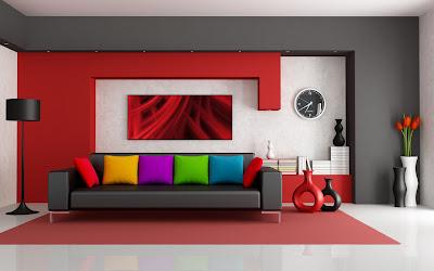 3D Interior Design Leather Sofa and Colorful Pillows HD Desktop Wallpaper