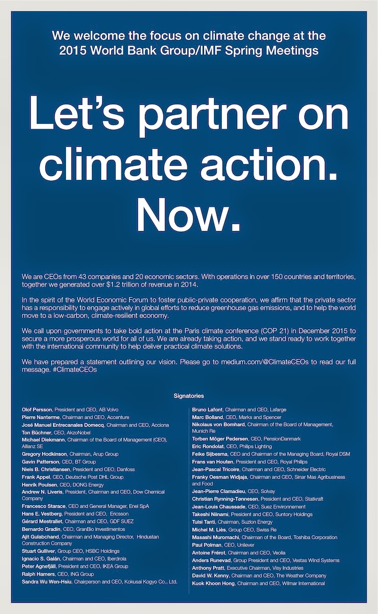 Let's partner on climate action. Now. (Credit: wunderground.com / Climate Action / Financial Times) Click to Enlarge.