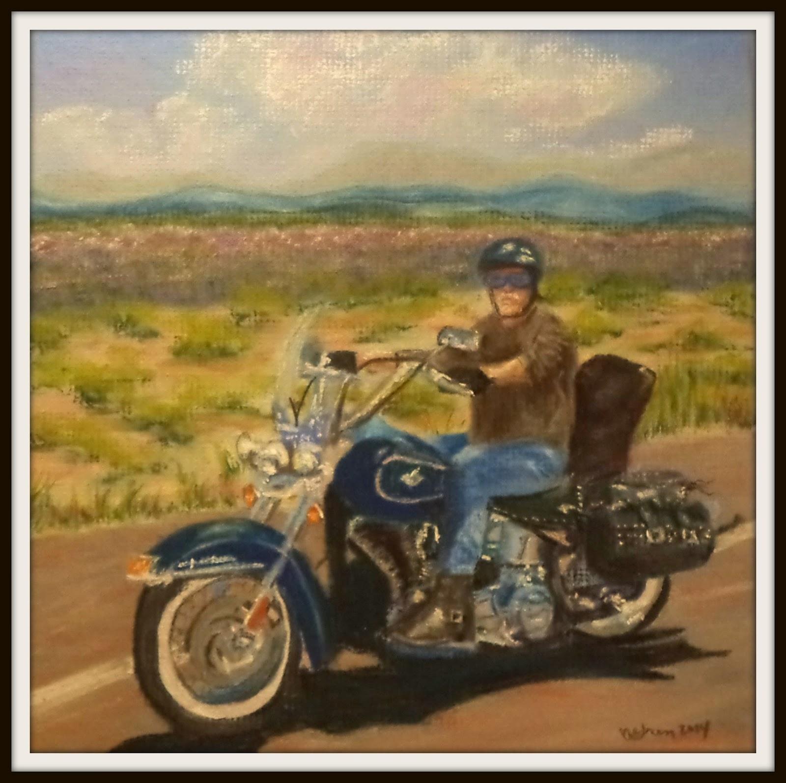 Arizona portrait biker Harley Davidson ncwren pastel painting