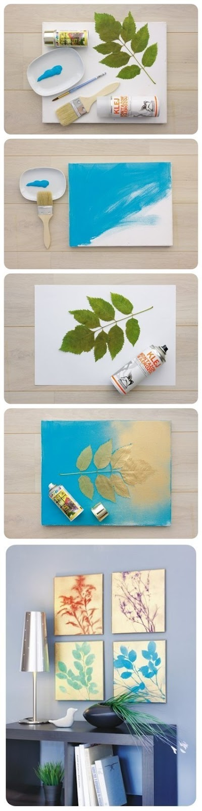 Dishfunctional designs diy stenciled nature wall art on Diy canvas art