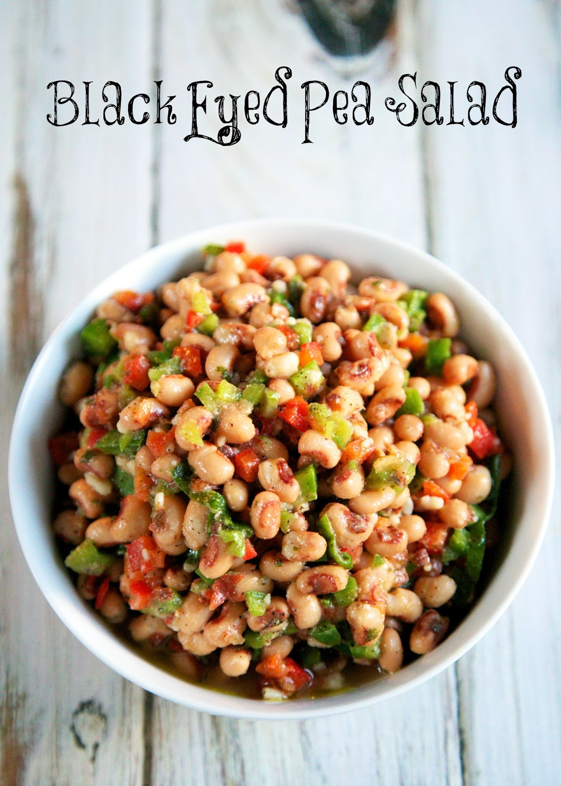 Black Eyed Pea Salad Recipe - red bell pepper, green pepper, scallions ...