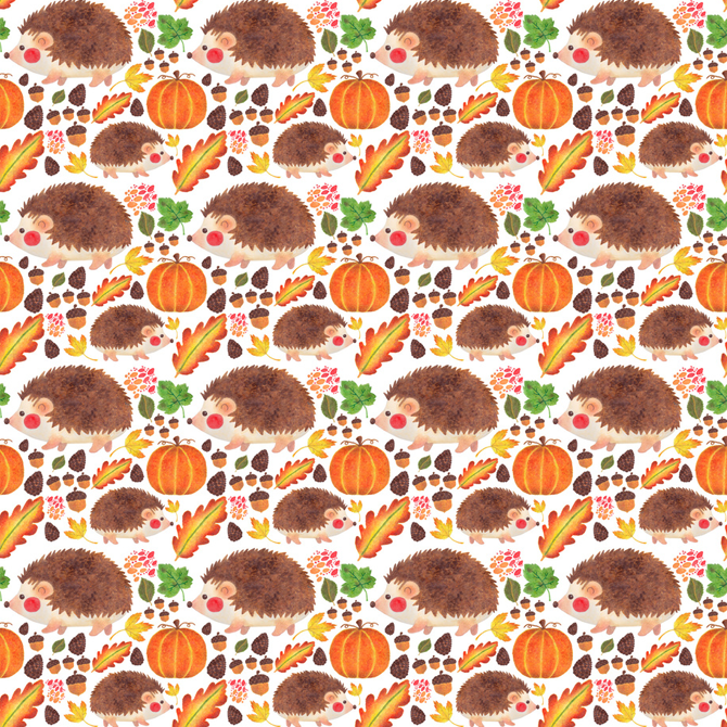 Autumn Hedgehog Pattern Printed on Merchandise Illustration by Haidi Shabrina