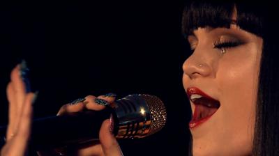 Jessie J, singing Domino, eyes closed, London 2011.
