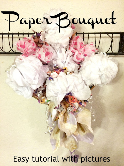How to make a paper bouquet, Wedding Rehearsal Dinner paper Bouquet, Paper Flower tutorials
