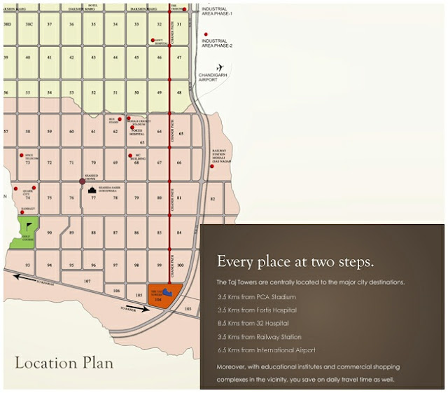 Location map for taj towers mohali