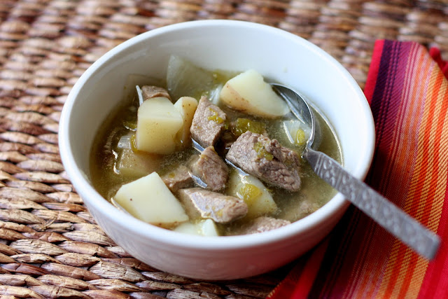 New Mexican Green Chile Stew recipe by Barefeet In The Kitchen