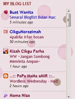 Senarai Bloglist Bulan Mac 2015. Terima Kasih Buat Semua Blogger