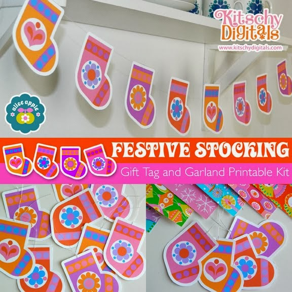 Festive Stocking Gift Tags and Garland