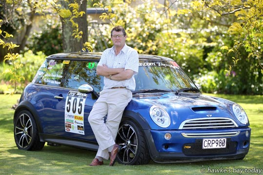 Robert Webster, Havelock North, with the mini he'll be driving with his son Nick Webster in the Targa Rally. photograph