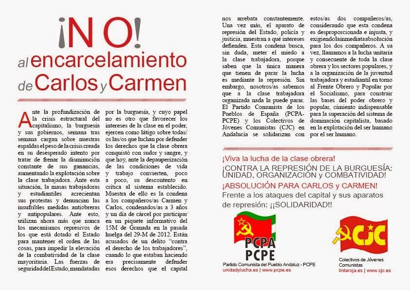 No al encarcelamiento de Carlos y Carmen