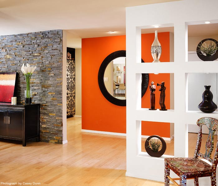 Orange Accent Wall In Living Room (4 Image)
