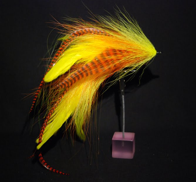 ... with yellow and orange schlappen,hot orange grizzly microbarb saddled, ...