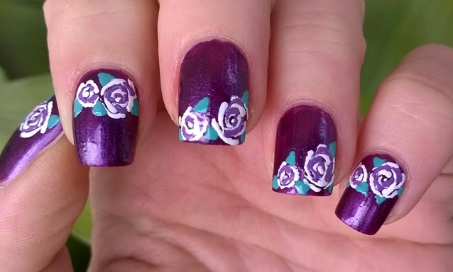 Life World Women Purple Toothpick Nail Art Violet White Roses