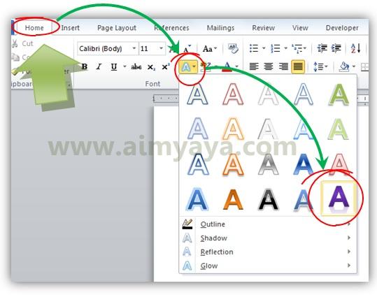 Gambar: Cara membuat efek teks di microsoft word 2010