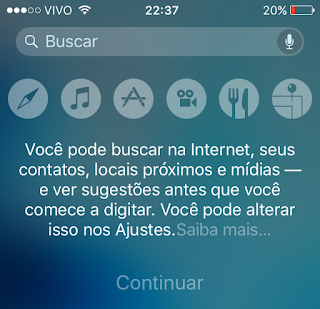Busca do Spotlight iOS 9 beta 5