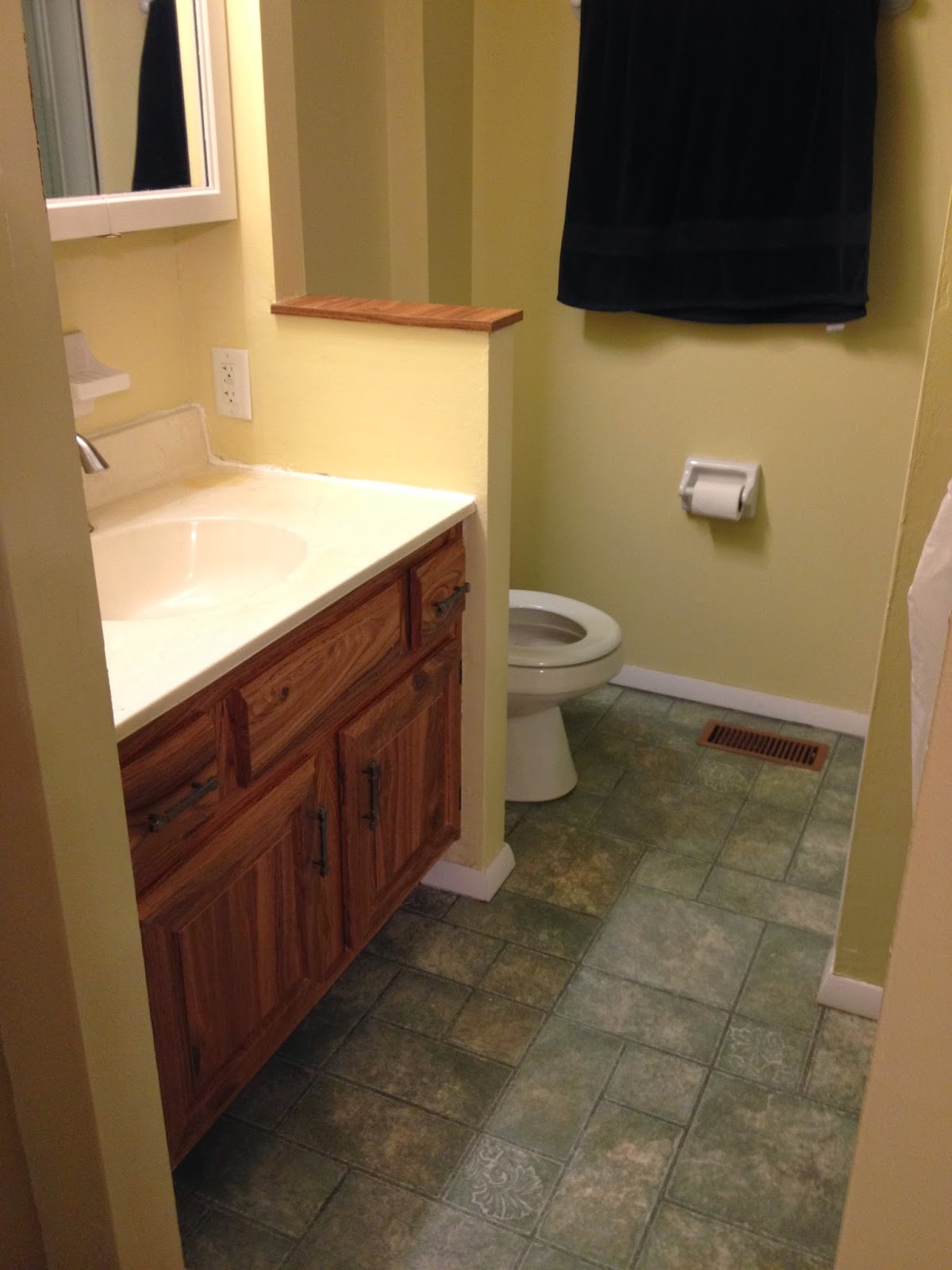 This Is A Small Bathroom: 30 Square Feet Of Open Floor Space. I Understand  Why They Only Had One Towel Holder Because That Is The Only Open Wall Space  Big ...