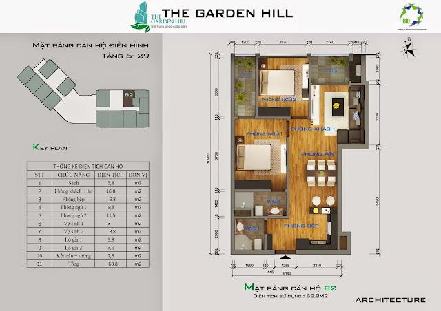 Căn B2 tầng 6 Garden Hill - 99 Trần Bình