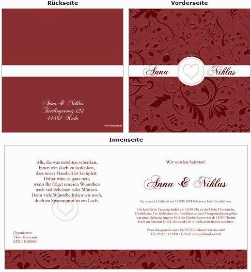 Einladungskarten Rubinhochzeit: bestellen Sie einen gratis Probedruck