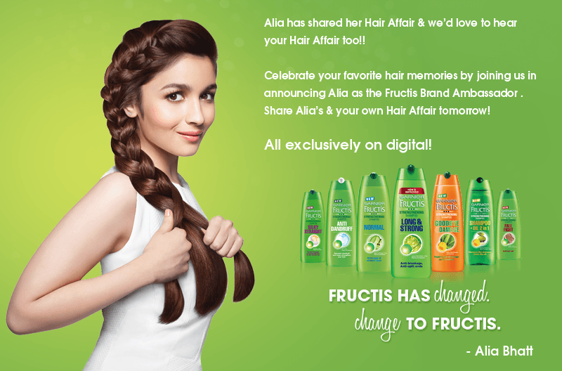 Alia Bhatt the face of Garnier Fructis.