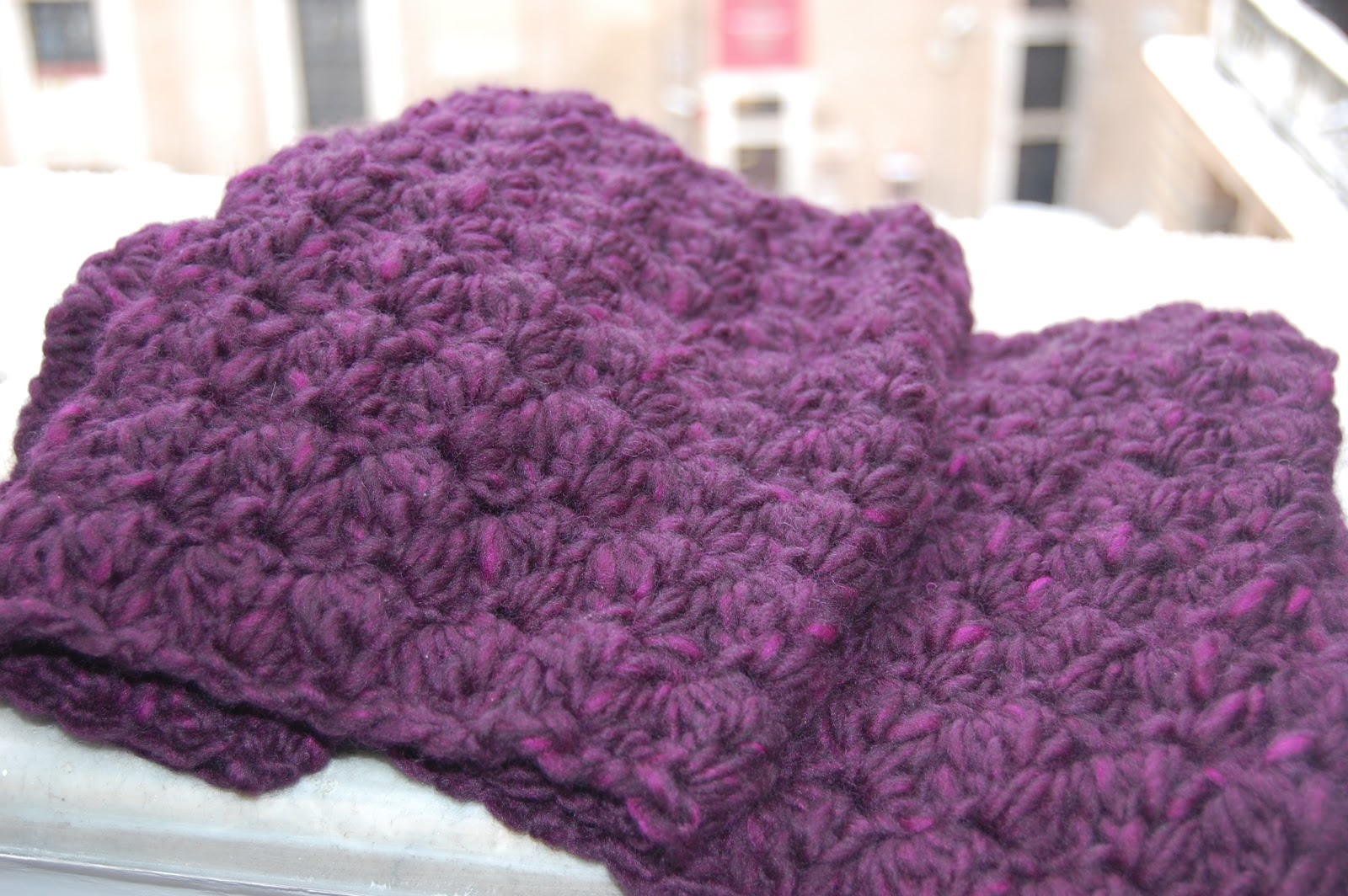 Crochet Shawl Patterns With Bulky Yarn : Bulky Purple Crochet Scarf What Do I Do?