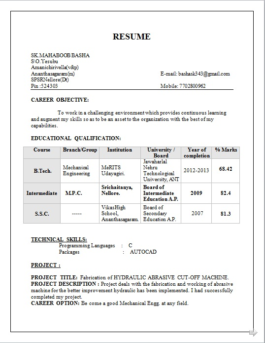 resume blog co  resume sample of b tech