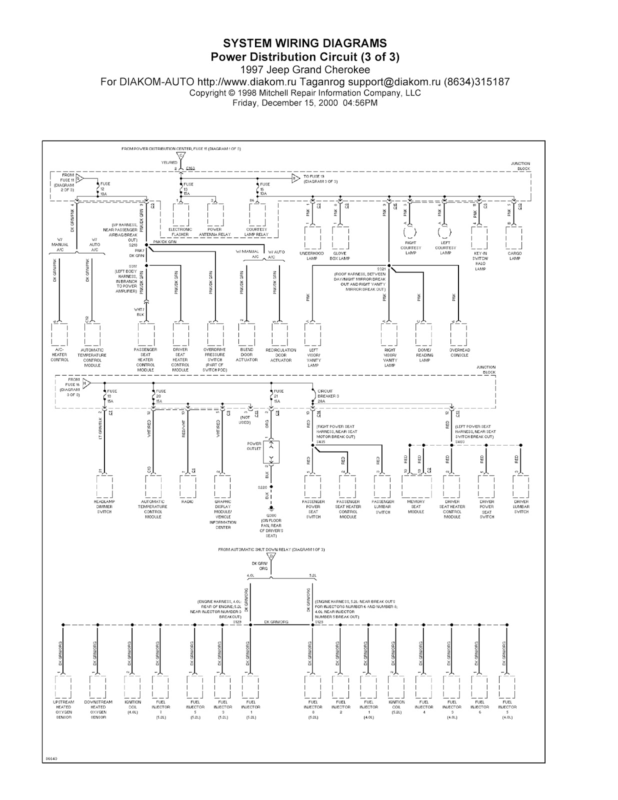 1997 Jeep Grand Cherokee System Wiring Diagram Power Distribution Circuit