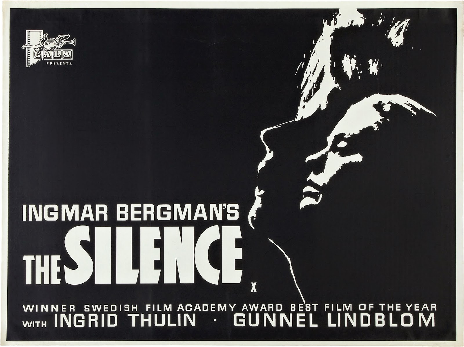The Silence (Swedish: Tystnaden) is a 1963 Swedish drama film written and  directed by Ingmar Bergman and starring Ingrid Thulin and Gunnel Lindblom.