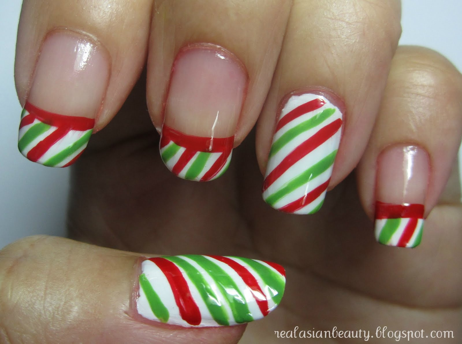 Real Asian Beauty Candy Cane Nail Art Tutorial