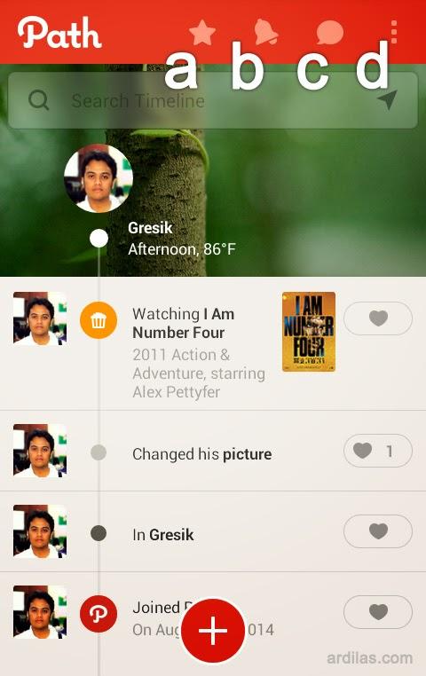 Halaman pertama - Kenali Aplikasi Path dan Fiturnya - Android