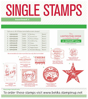 Single Christmas Stamps from Stampin' Up! available from www.bekka.stampinup.net until 31 January 2014 or while stocks last