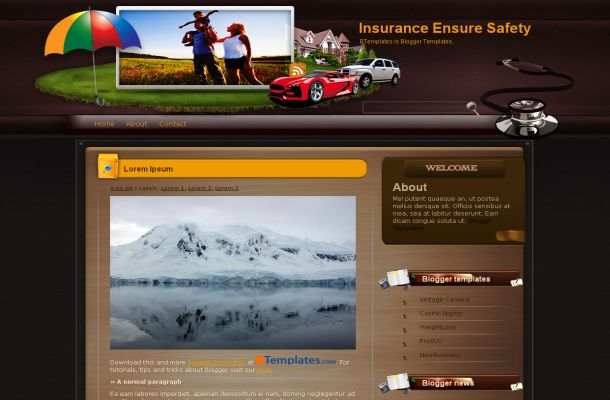 Insurance Brown Business Blogger Theme Template