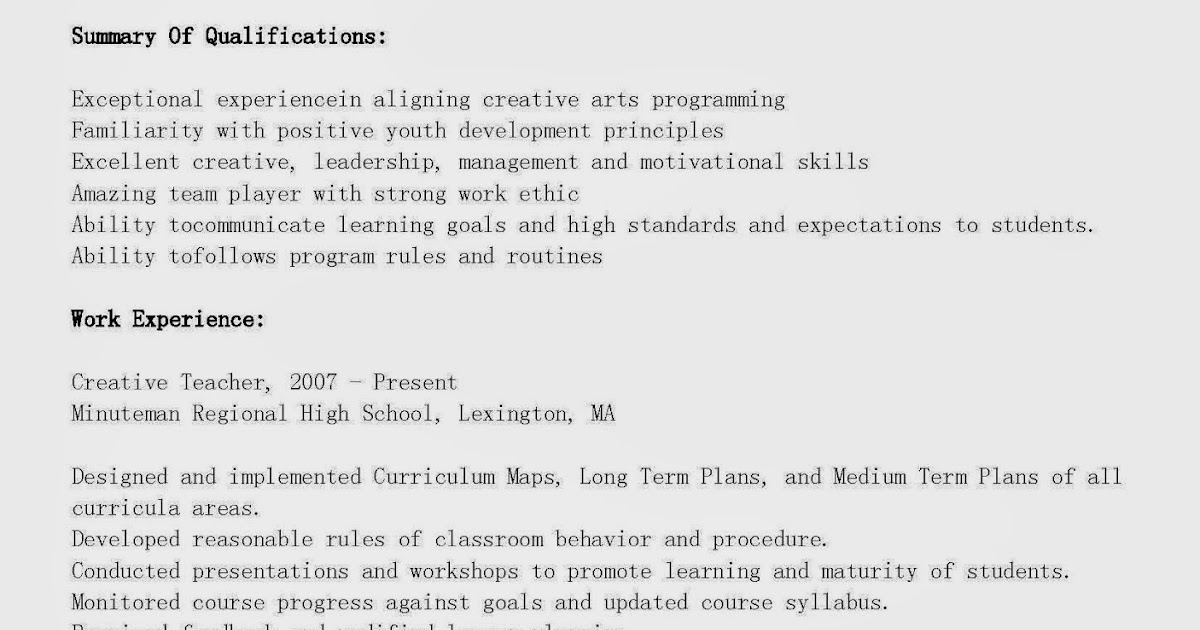 Creative resume ideas for teachers