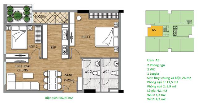 Căn hộ A5 diện tích 66,95 m2 tầng 4-15 - Valencia Garden