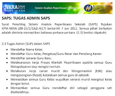 Senarai Tugas Guru SAPS Sistem Analisis Peperiksaan Sekolah