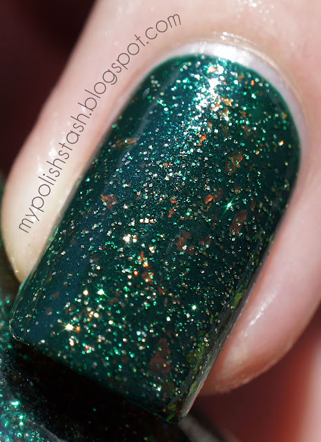 nailpolish CultNails green flakies glitter ToxicSeaweed