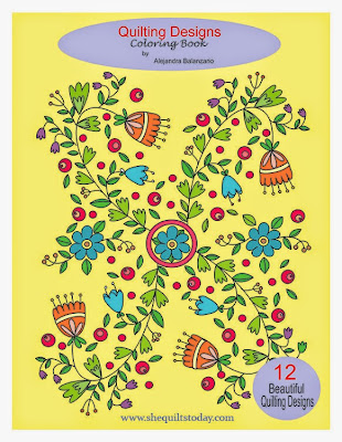Coloring book for adults, Quilting desings