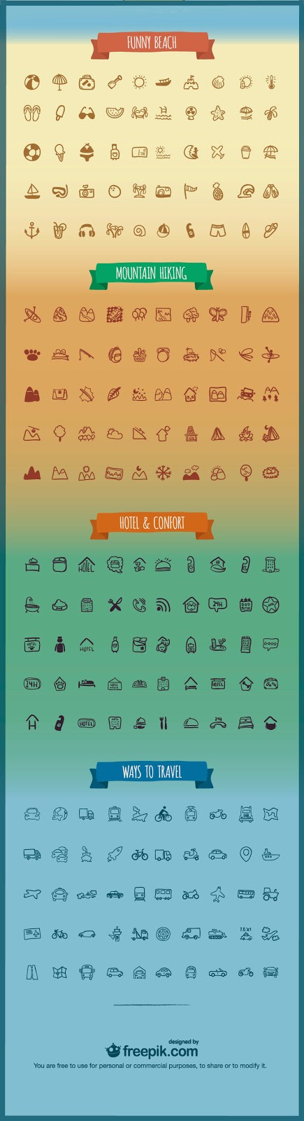 200 Holidays & Travel Icons Pack PSD
