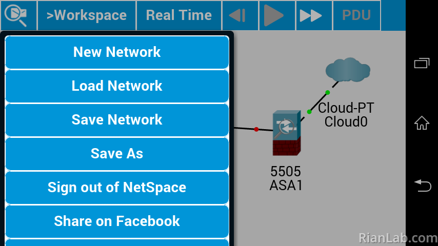 Menu Packet Tracer Android
