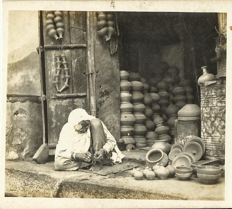 Rural Indian Pottery Shop Vintage Photograph