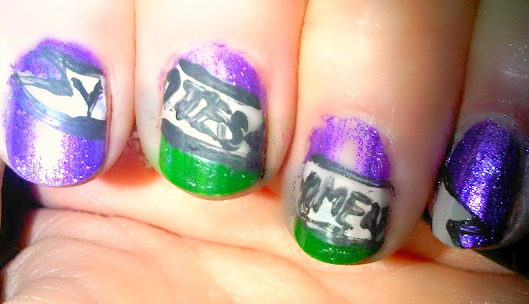 Votes for women banner on purple and green nailart