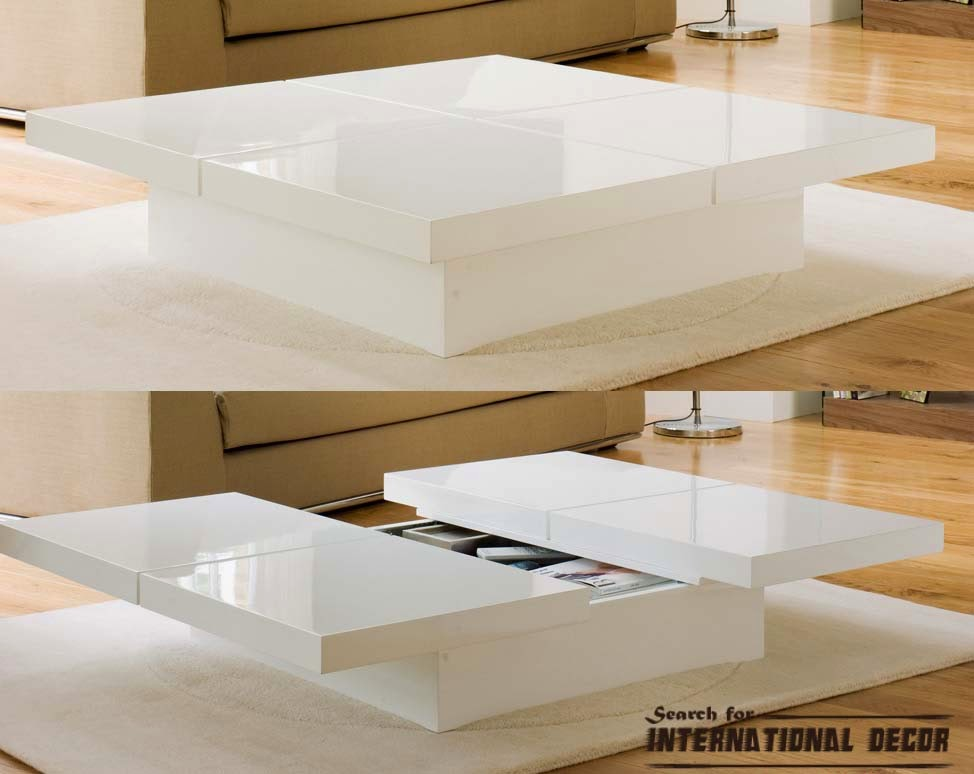 storage coffee table, modern white coffee table