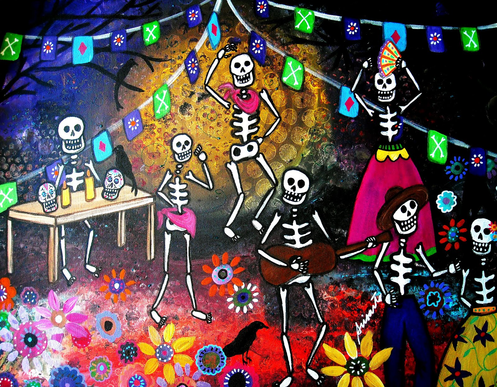 Mexican Fiesta DIA De Los Muertos Art Widescreen Wallpaper 1600 X 1247