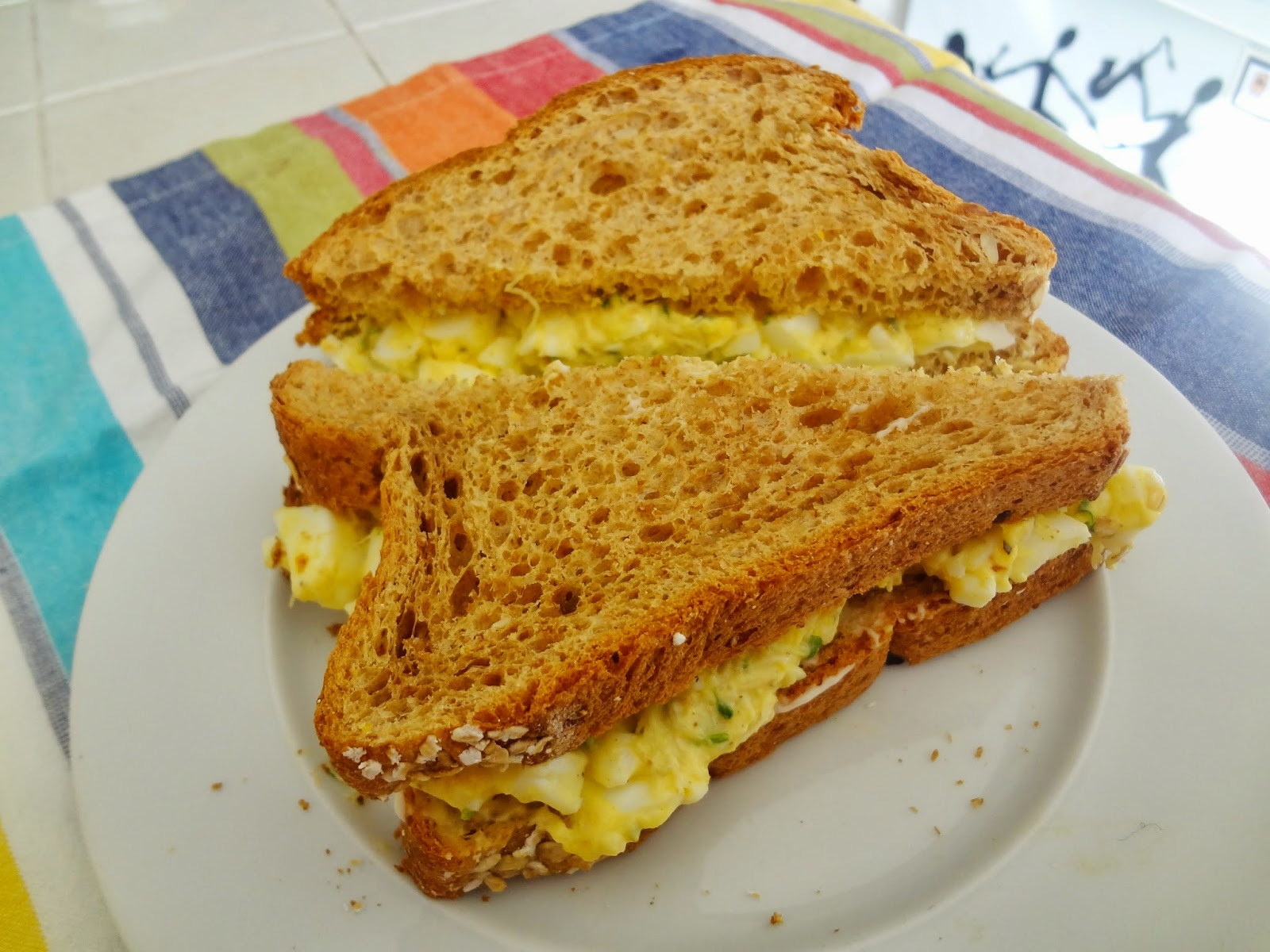 Improved Egg Salad Sandwich with sprouts