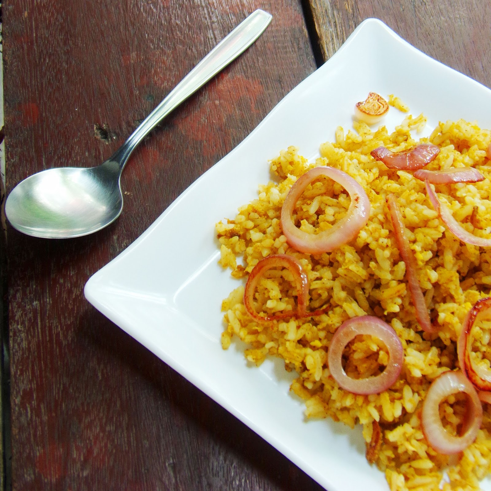 Curry fried rice with caramelized onion rings homemade fried rice easy fried rice recipe special fried rice healthy fried rice ccuart Image collections