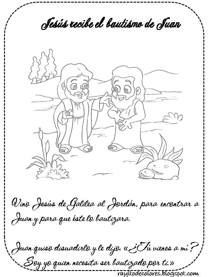 Contemporáneo Colorear Juan El Bautista Bautizando A Jesús ...