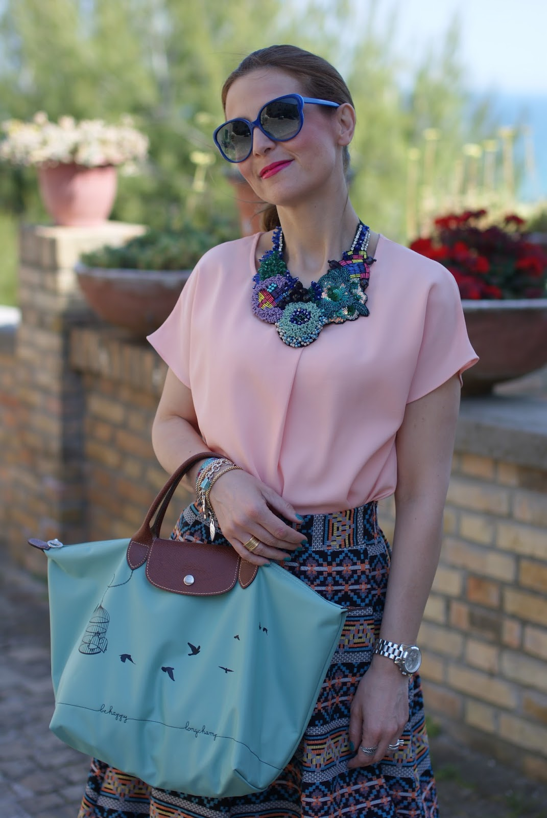 SimonaB Bijoux necklace, Le Pliage green bag, Fashion and Cookies fashion blog