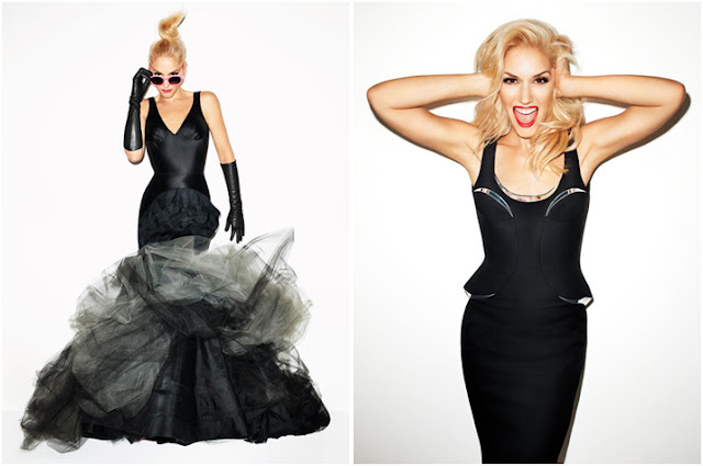 gwen stefani black dress harpers bazaar