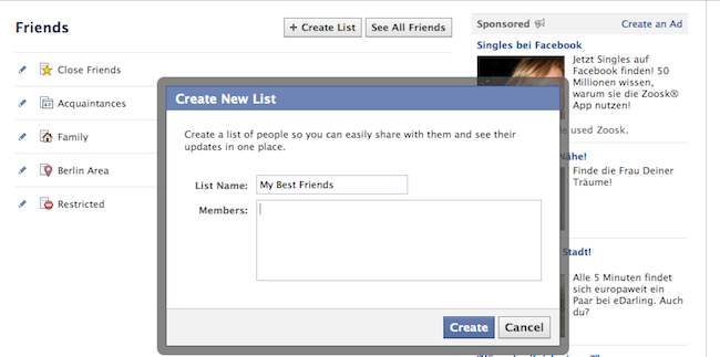 Create & Manage Friends' Lists
