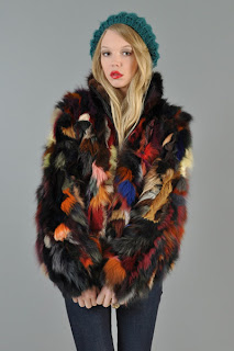 Vintage 1970's rainbow colored fox fur coat