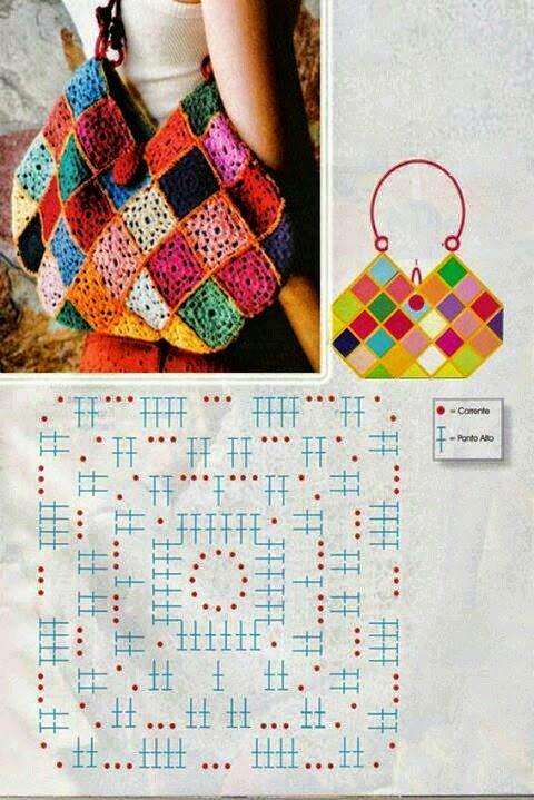 Cartera tejida crochet con squares
